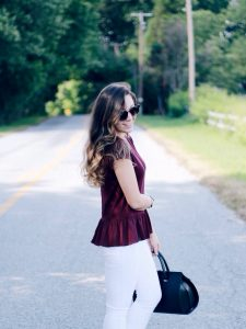Style Diary :: Burgundy Peplum & Gold-Heeled Sandals
