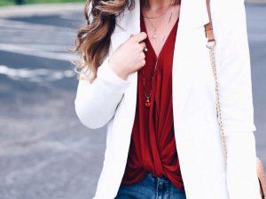 Style Diary :: White Blazer & Burnt Henna NSale Blouse