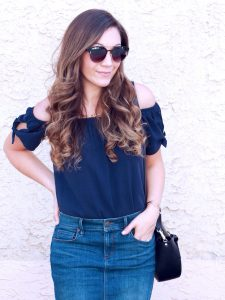 Style Diary :: Navy Off The Shoulder & Jean Skirt