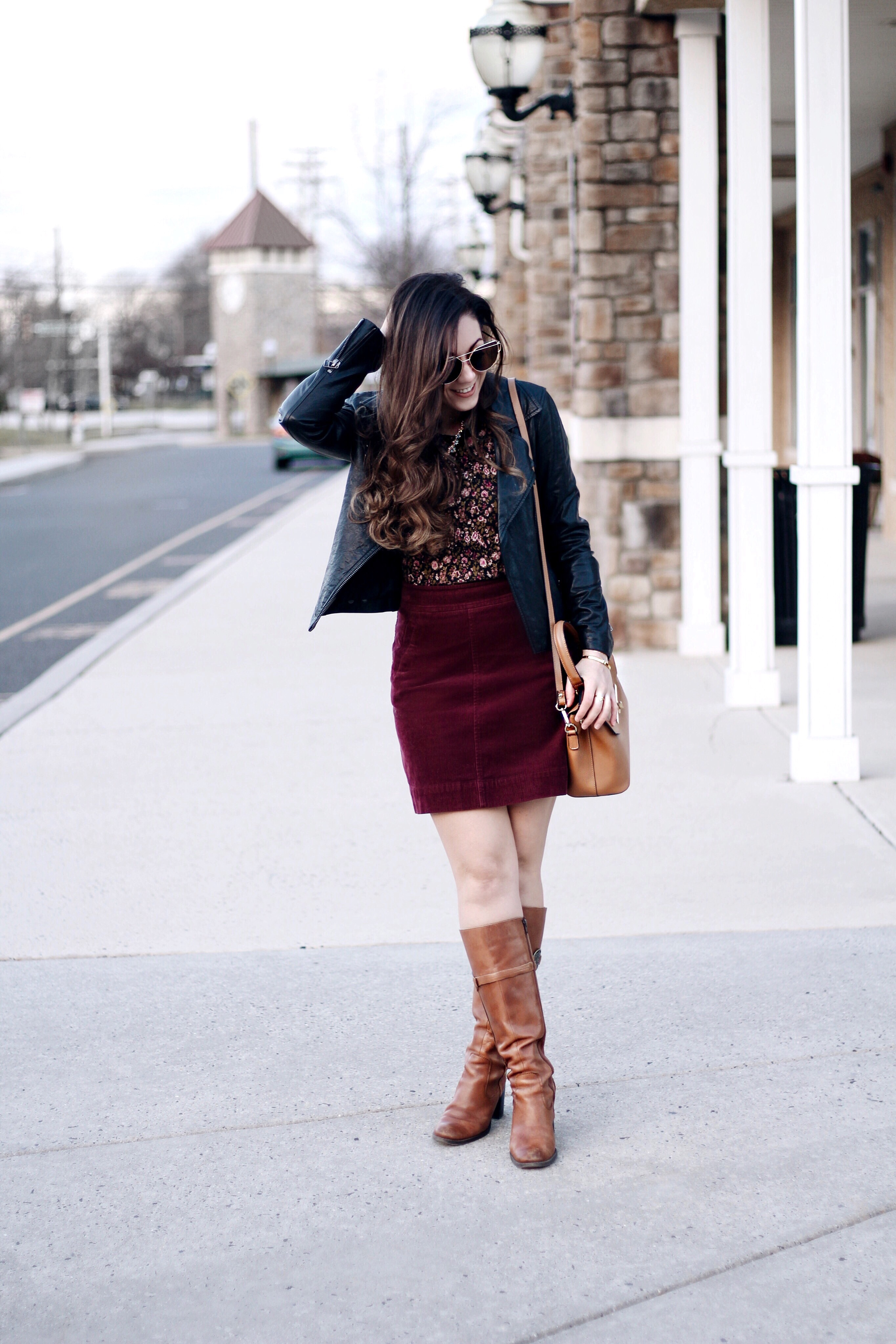 Camel Accessories, Burgundy Skirt, Floral Top