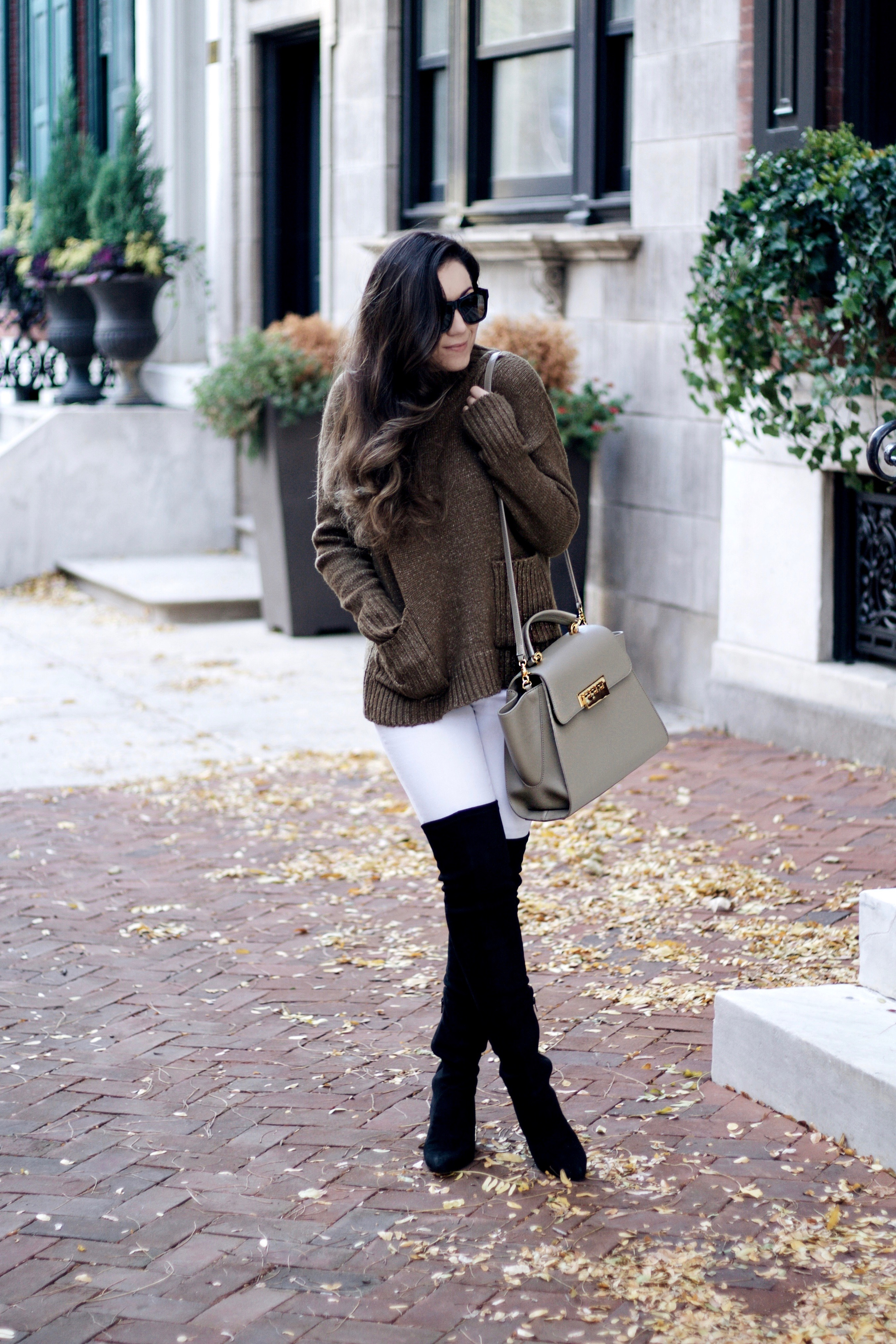 Chunky Sweater, Zac Posen Bag, and OTK Boots