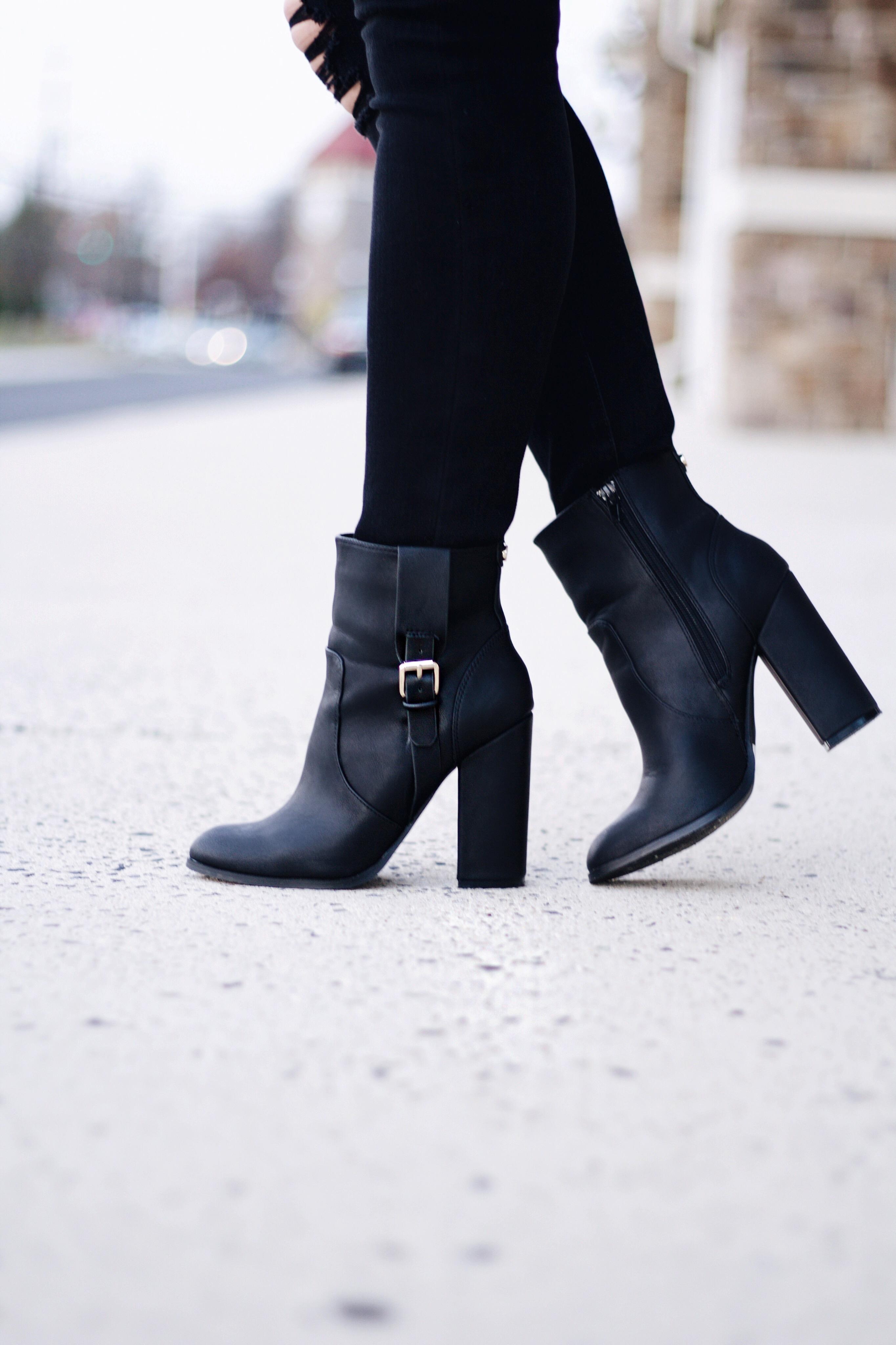 Black Leather Buckle Boots