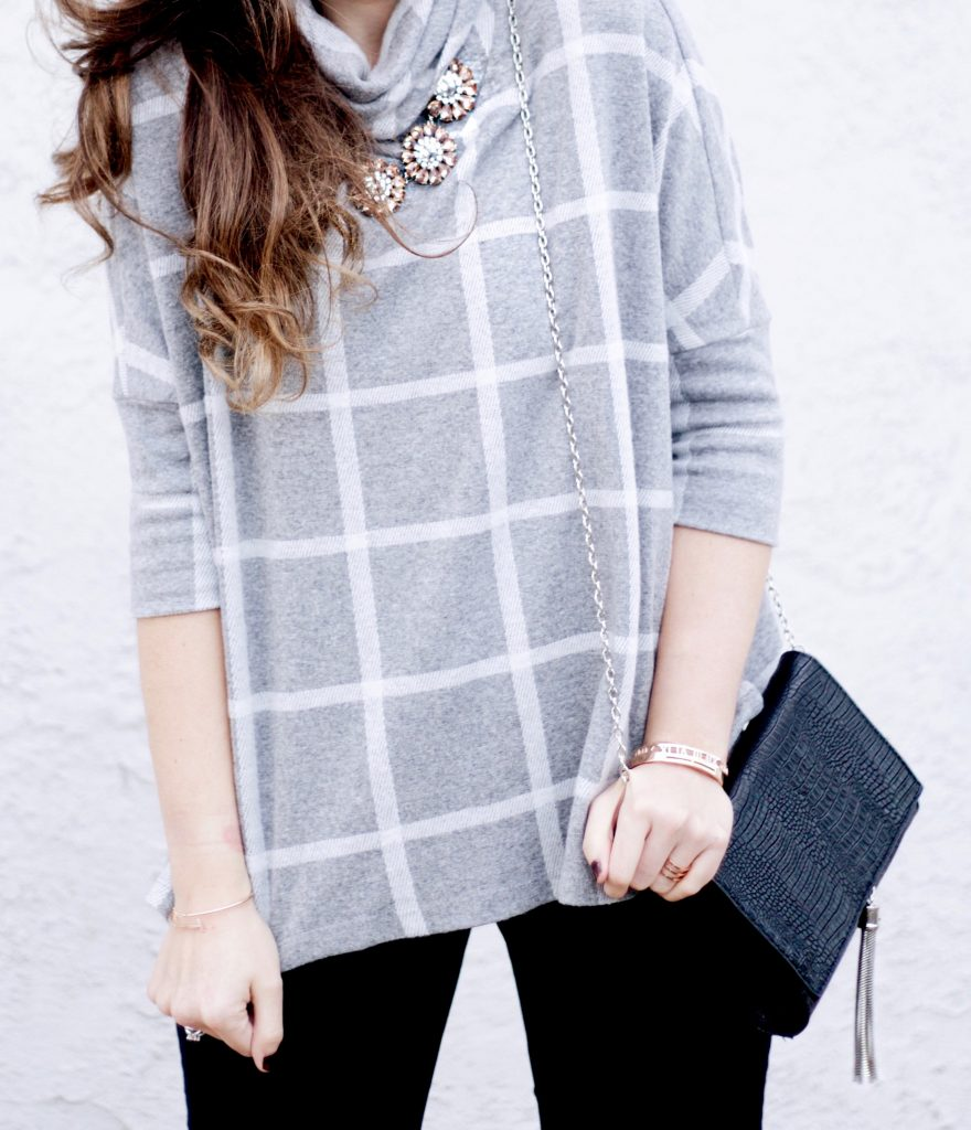 Checked Sweater, Black Skinny Jeans, The Peach Box Jewelry, Black Tassel Crossbody, Statement Necklace