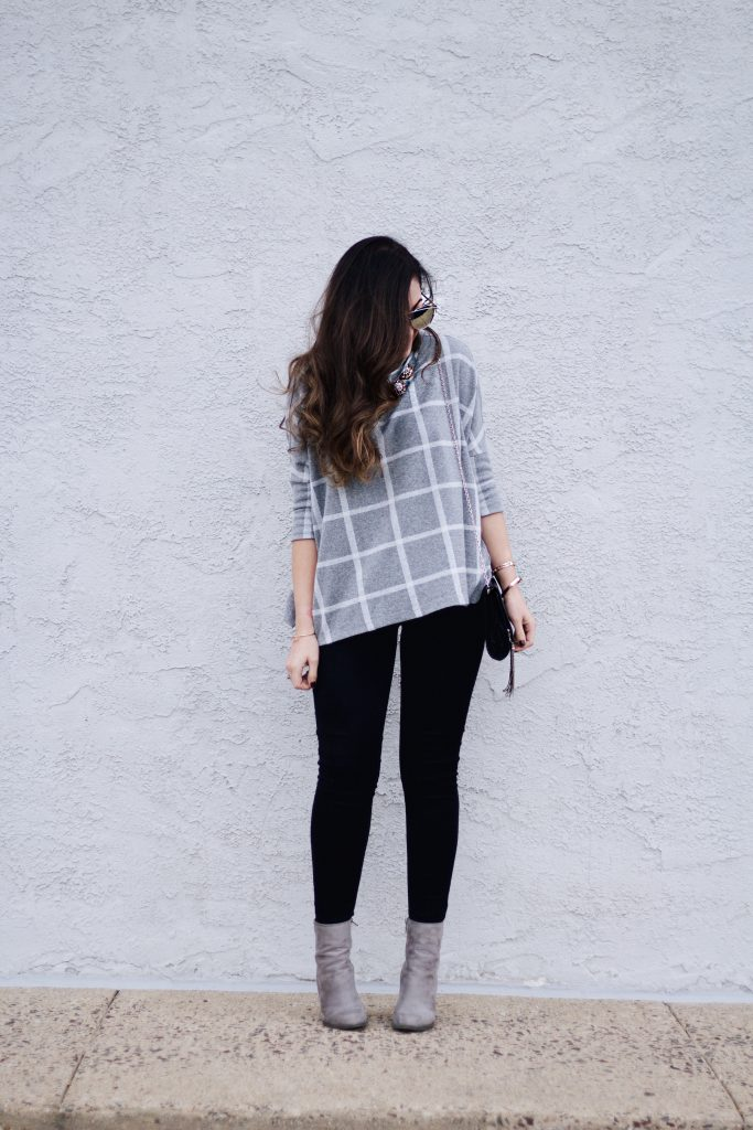 Checked Sweater, Black Skinny Jeans, Grey Booties, Black Tassel Crossbody, Sombre Baylage, Statement Necklace