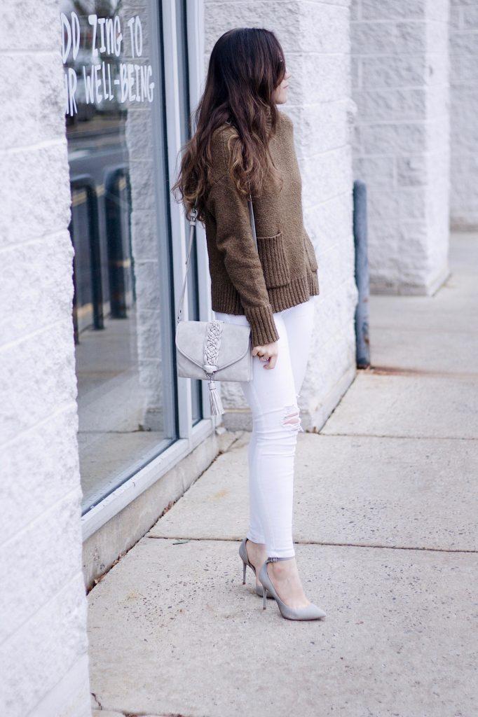 Olive Sweater, White Distressed Denim, Grey Violet Ray Bag, Grey Steve Madden Pumps