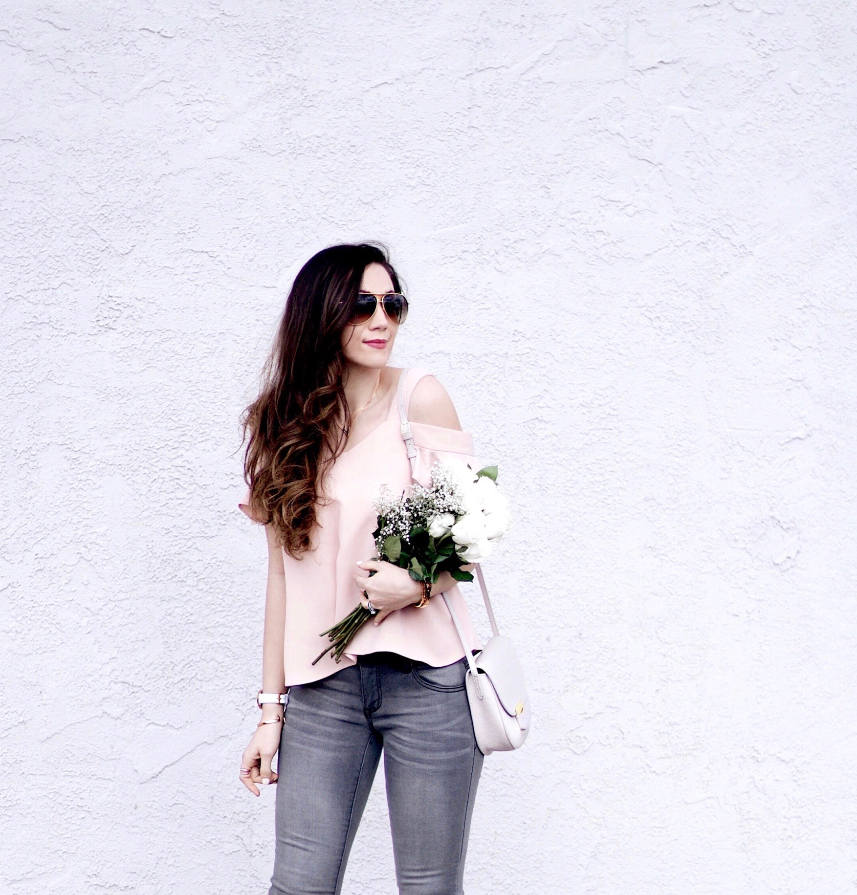 Valentine's Day Outfit Inspiration. Pink Toyshop Bardot Top, Grey 1822 Frayed Hem Denim, Blush Kitten Heels, White Roses, Rose Gold Jewelry, Klasse14 Watch