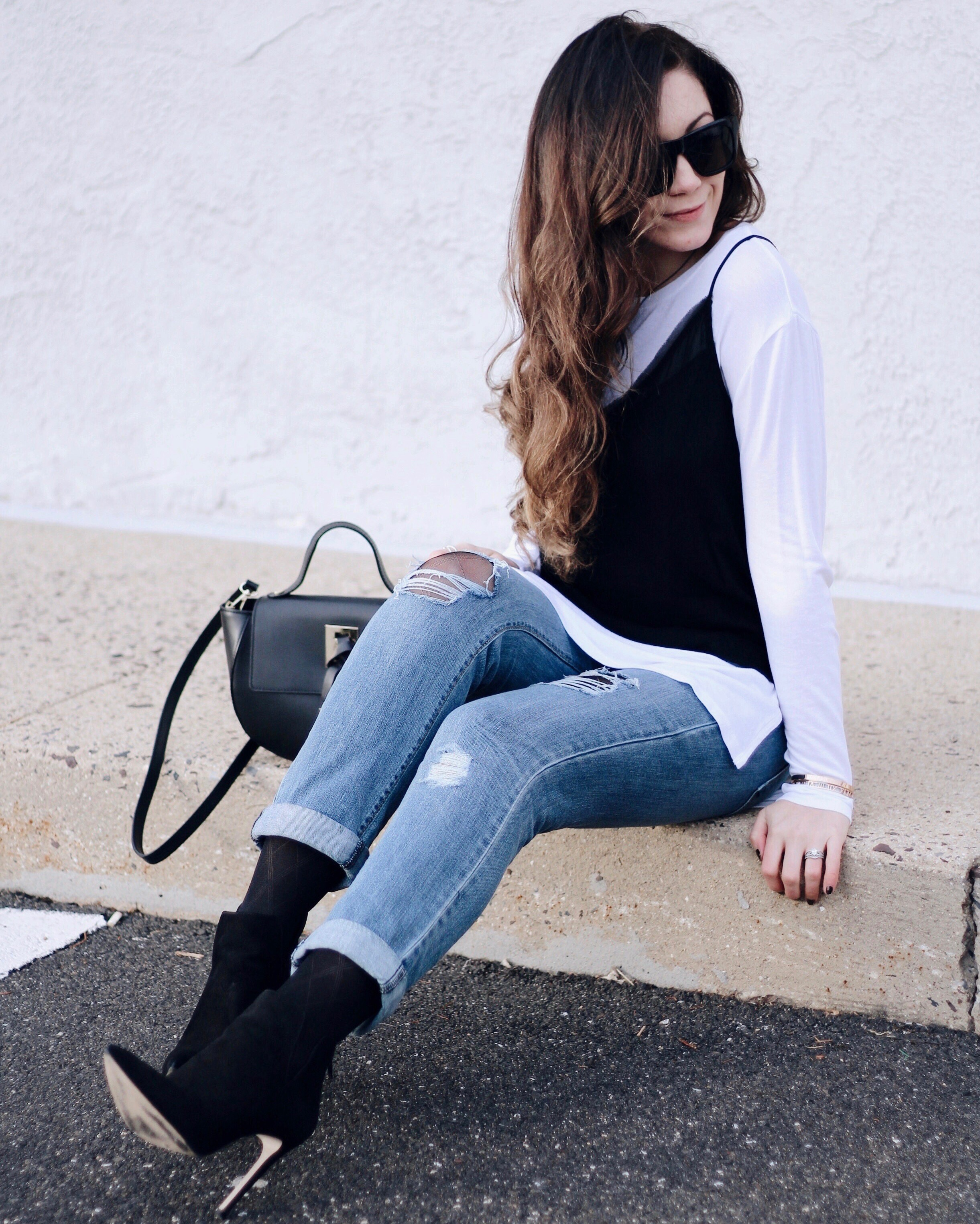 Layered Cami over Ripped Jeans
