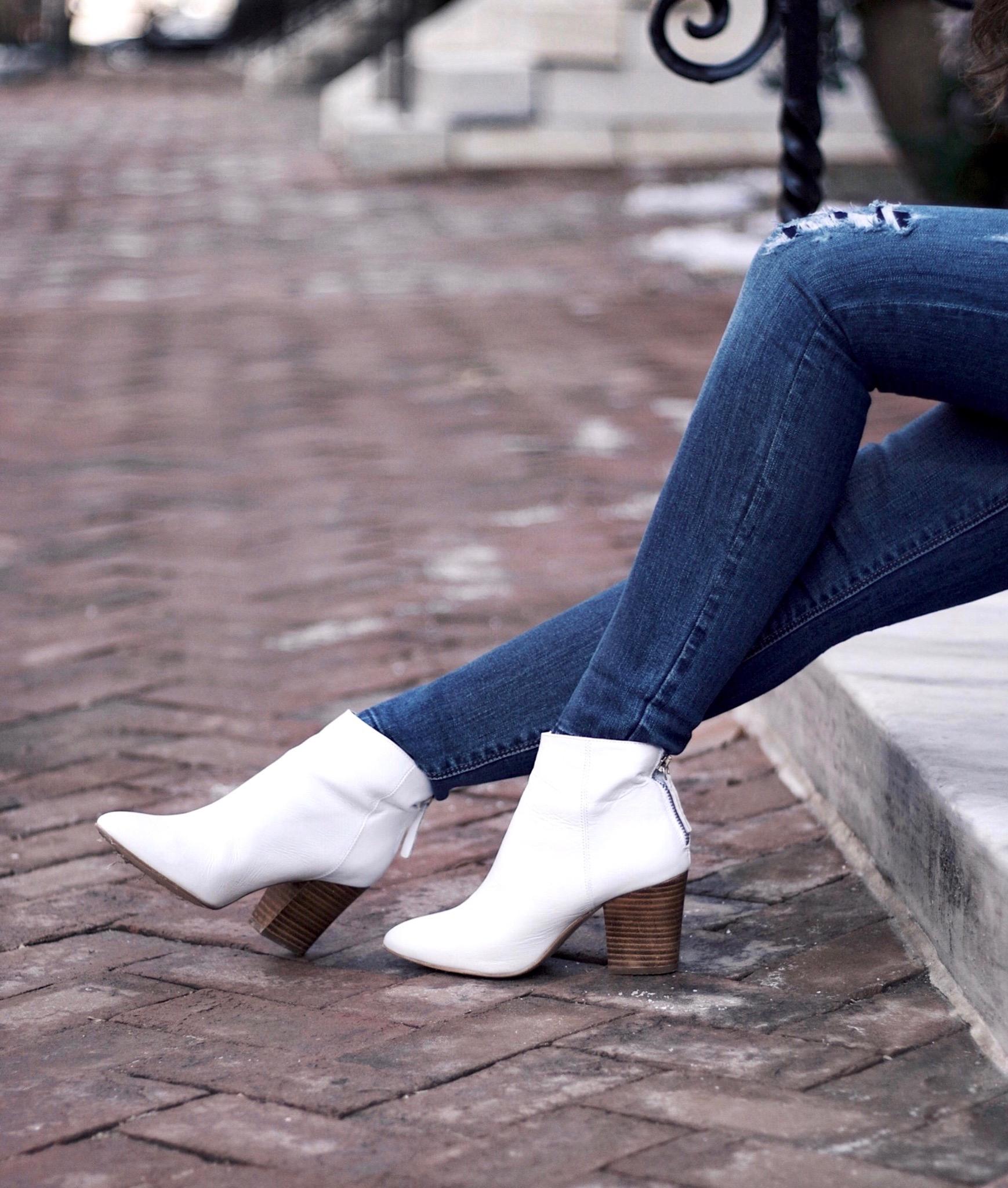 White Boots, White House Black Market Skimmer Jeans
