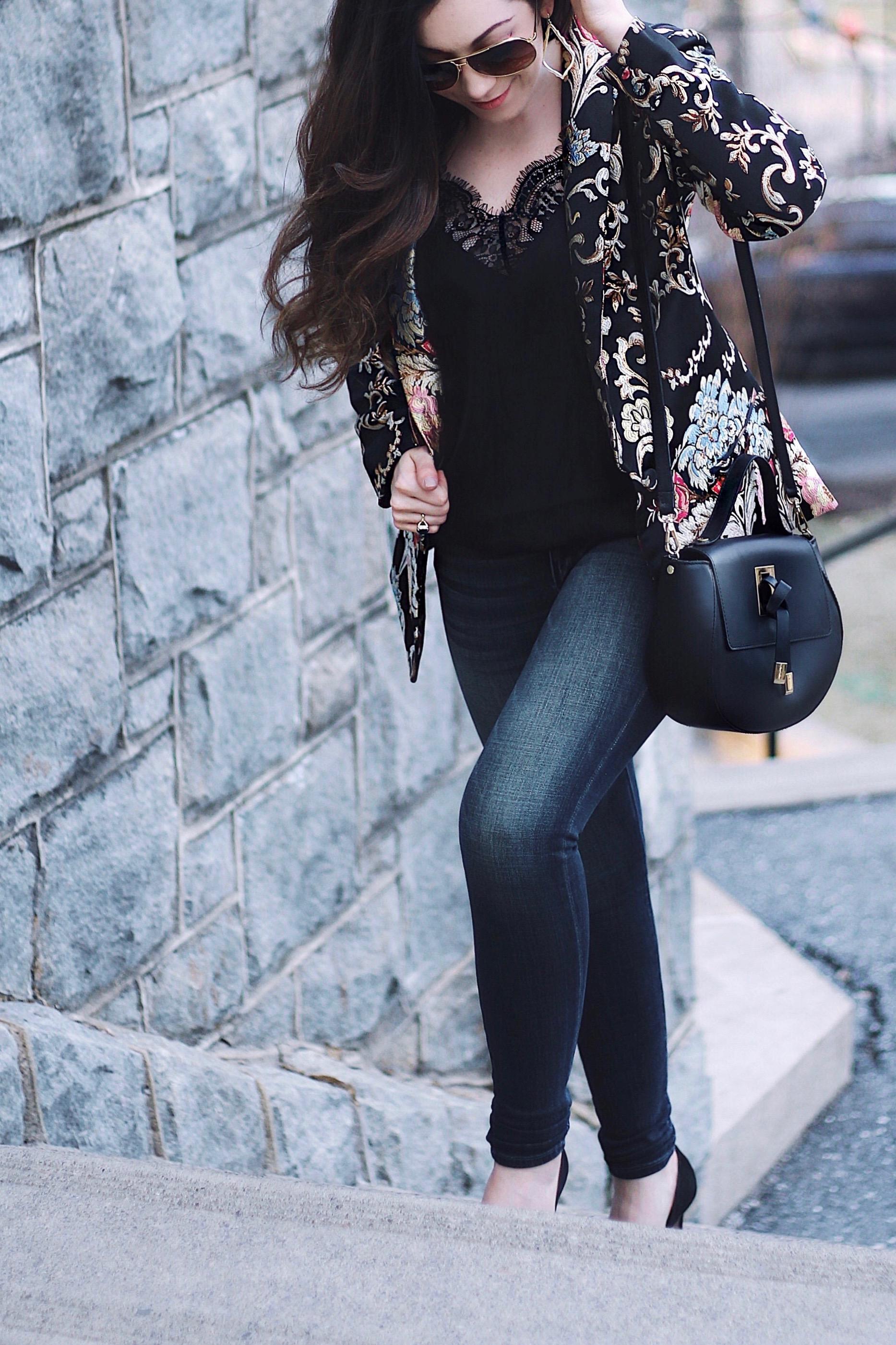 Capsule Wardrobe Series - LPA Floral Statement Blazer - Street Style
