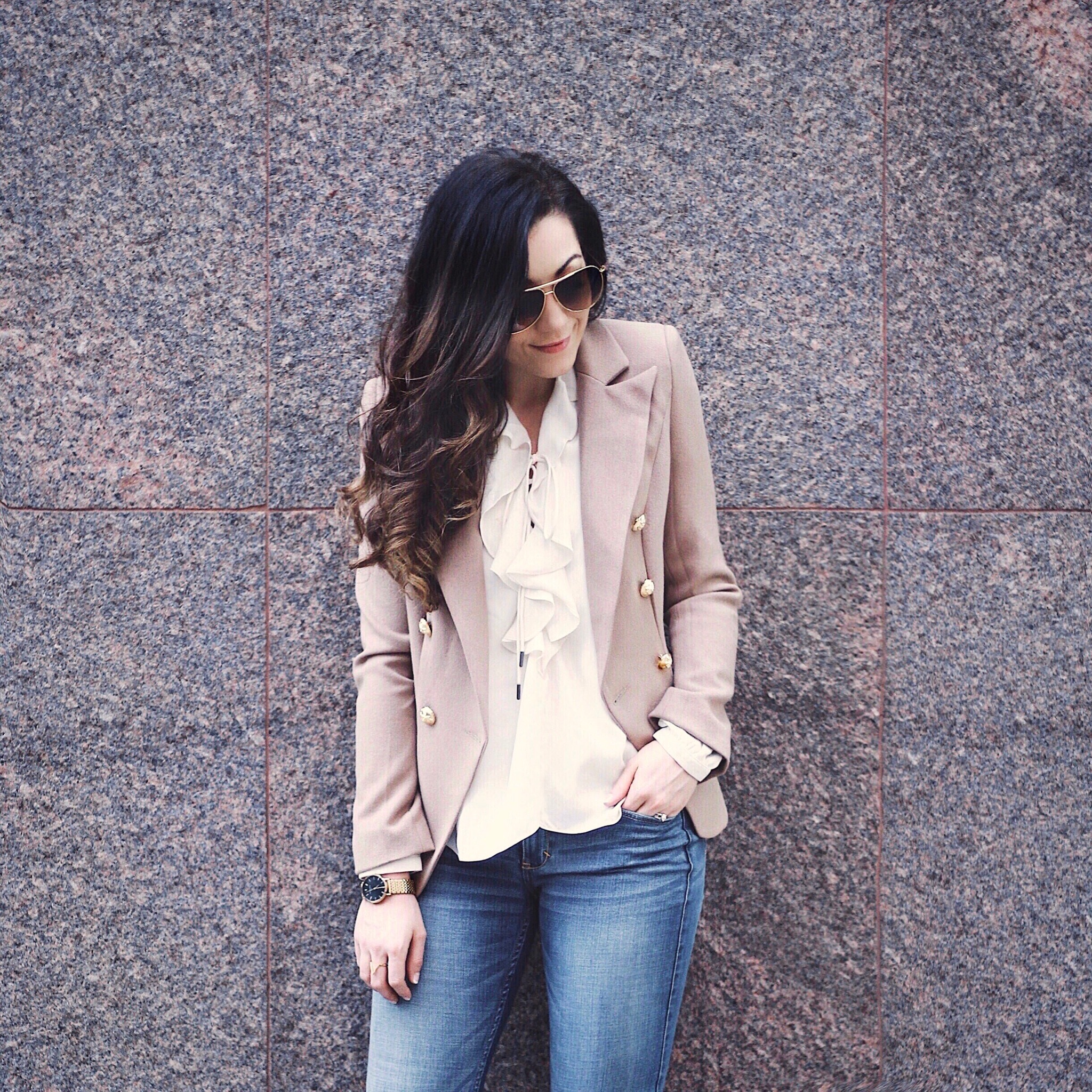 Feminine meets Masculine, a blending of styles and some thoughts | Revolve Lioness Blush Blazer, Abercrombie & Fitch Jeans, Steve Madden Pumps, L'Academie Cream Ruffled Top, Rosefield Watch