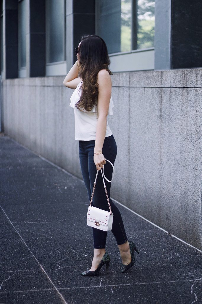 One Shoulder Top Roundup, Abercrombie & Fitch Jeans, 88Handbags Crossbody, Zara Palm Heels