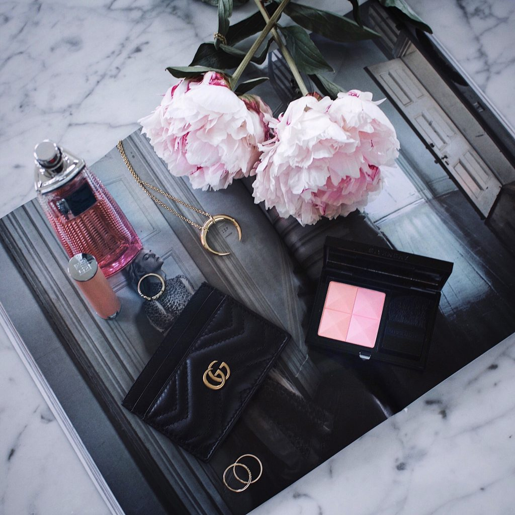 Gucci Card Case, Peonies, Givenchy blush, Live Irisistible, Mejuri, Gorjana