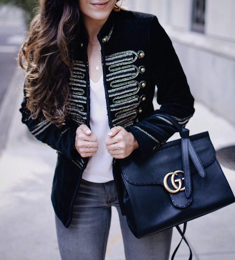 AW 2017 Look   BlankNYC Velvet Military Jacket, Grey Denim, White Tee, Valentino Red Star Studded Black Pumps, Gucci Marmot Bag