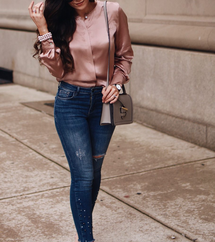 11 Tips for New York Fashion Week - Chafor Silk Top, Zara Pearl Embellished Raw Hem Denim, Lagos Pear Jewelry, Camelia Roma Bag, Zara Pearl Embellished Shoes