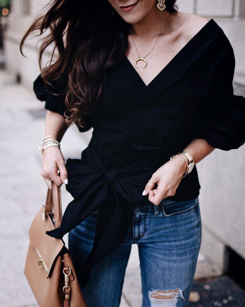 Two ways to style boyfriend jeans, Part 1! Chicwhish blouse. Kristin Cavallari pumps, Camelia Roma Cognac Crossbody, Late summer style