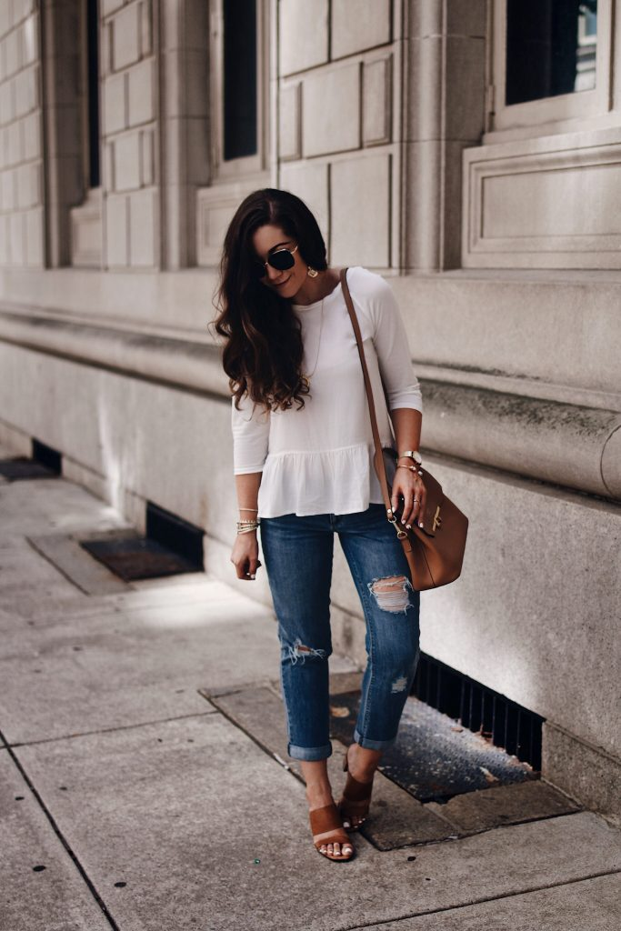 How to Style Boyfriend Jeans Part 2 | Distressed Boyfriend Jeans, White Loft Ruffle Tee, Cognac Nine West Mules, Camelia Roma Cognac Crossbody, Gorjana necklace, Kendra Scott Verona Bangles