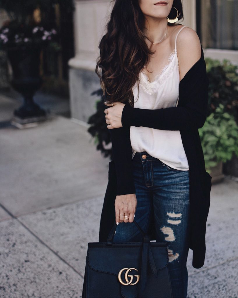 10 Tips for being Successful | Silk Lace Cami, Snuggly Cardi, Gucci Bag, Star Studded Red Valentino Shoes