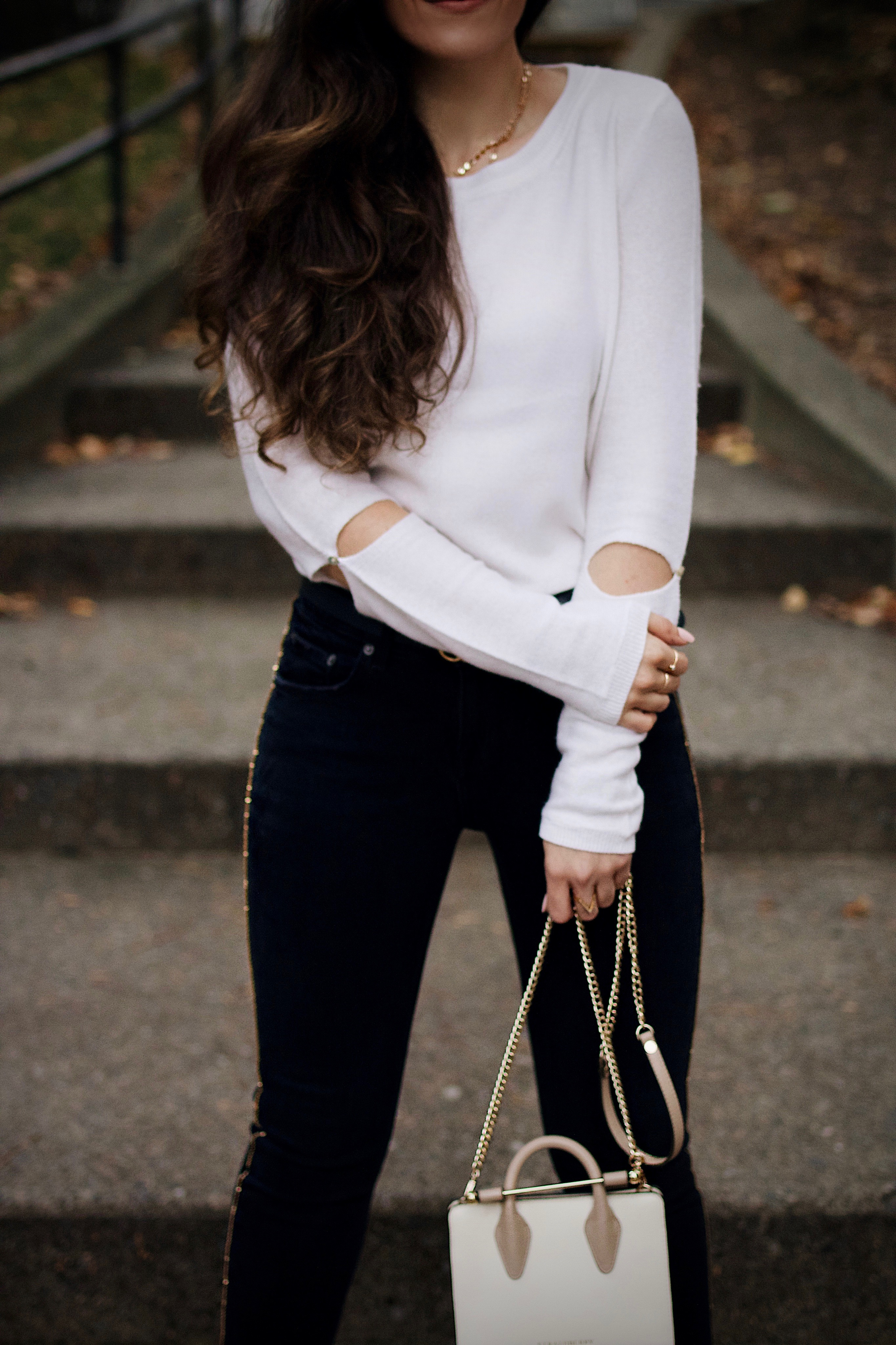 Lightweight Sweaters for Fall | Strathberry, Gucci, Gucci Belt, Black Denim, Embellished Denim, Cashmere, Cashmere Sweater, Ann Taylor Coat Olive Pumps