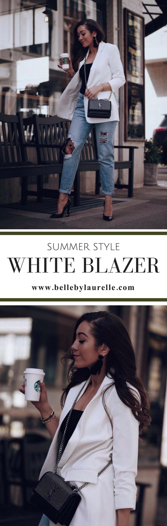 SUMMER STYLE WHITE BLAZER Belle by Laurelle